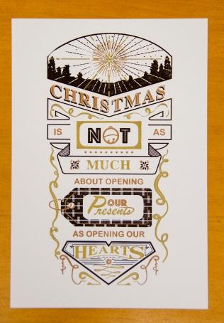 Christmas Card, letterpress, 3 color, 18 Christmas Card