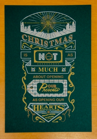 Christmas Card, letterpress, 3 color, 18 Christmas Card
